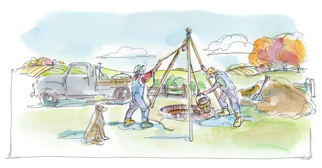 """""""You're at 40 feet now. What's your plan if you don't hit water today?"""" Illustration by Shelagh Armstrong."""