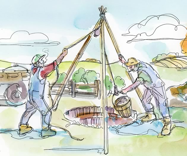 """You're at 40 feet now. What's your plan if you don't hit water today?"" Illustration by Shelagh Armstrong."