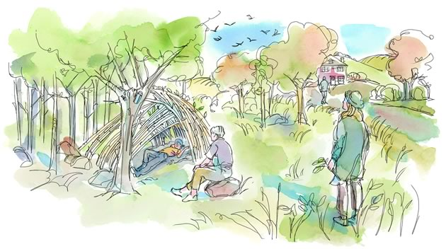 One of my favourite days involved basic fort making. Illustration by Shelagh Armstrong.
