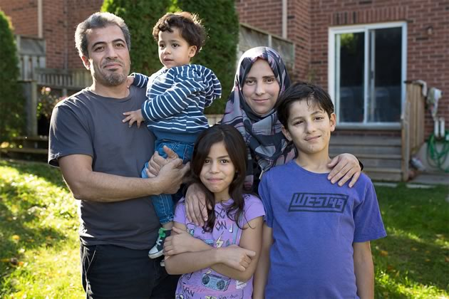 Rasmi and Islam Al Hariri are settling into life in Orangeville with their children Laith, Duha and Mamdouh. Photo by James MacDonald.