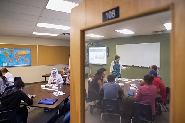 ESL instructor Yvonne Konrad leads a class in Alliston. Learning English and having a chance to practise it regularly is critical to adapting to life in Canada. Photo by James MacDonald.