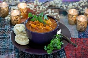Fresh chopped cilantro tops this Moroccan lentil stew. Photo by Pete Paterson.