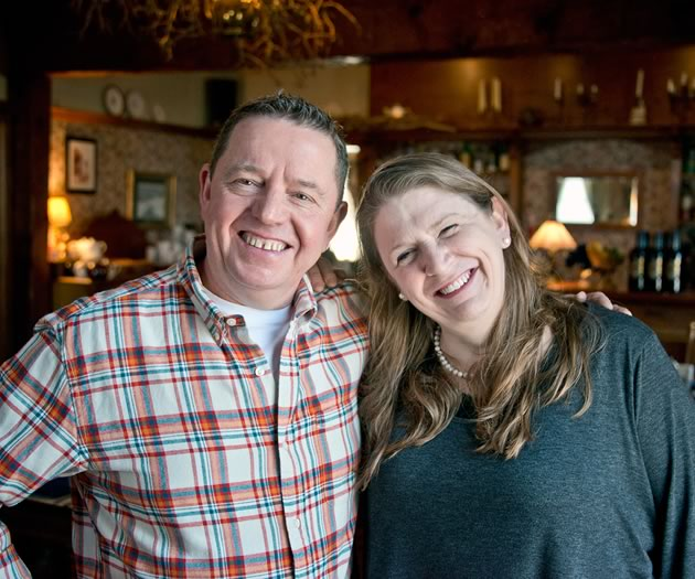 Beth Hunt and David McCracken, fine food and laughter. Photo by Pete Paterson.