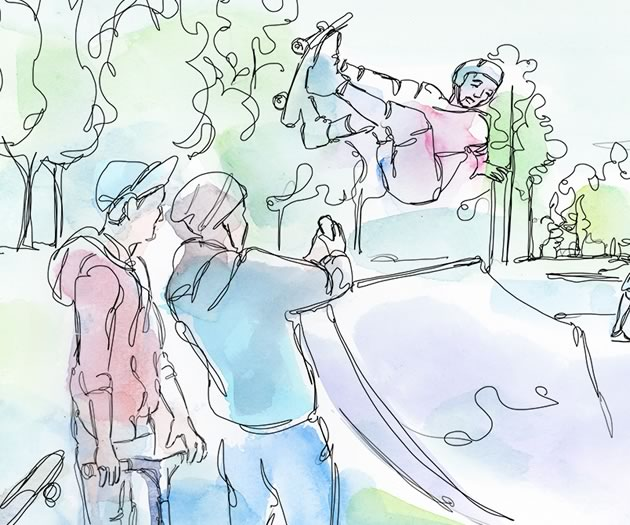 No parents. No buzzers. Just kids and the tick-tick-tick of ball bearings, the pregnant pause before a rider drops in like a rollercoaster going over the apex – the point of no return. Illustration by Shelagh Armstrong.