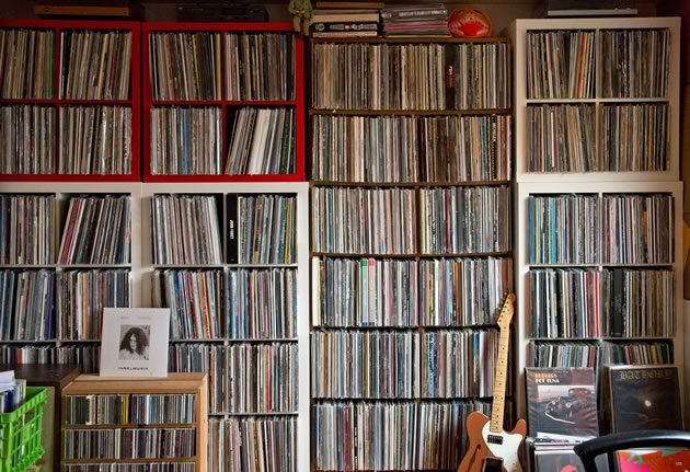 Although his vast music collection could probably now fit on a couple of good-sized USB drives, Mike Greenwood happily dedicates 60 feet of shelf space to his vinyl records. Photo by Pete Paterson.