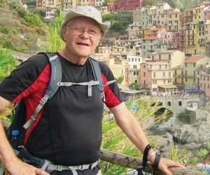 Harry Anderson during a trek in Cinque Terre National Park above the town of Romaggiore, Italy.