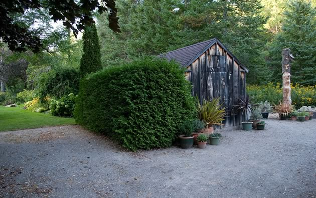 One of many small nursery and potting sheds near the house. Photo by Rosemary Hasner / Black Dog Creative Arts.