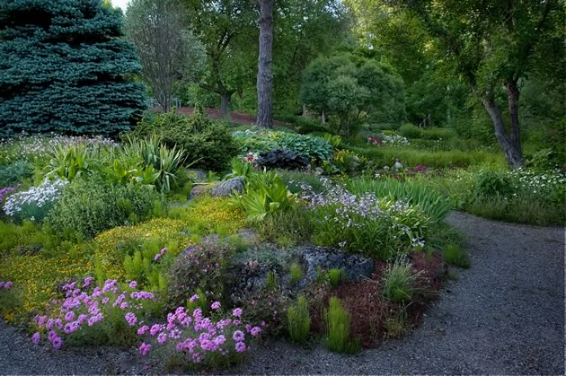 An enchanting spring view of an interconnected series of Liz Knowles' gardens, including a sand bed in the foreground with its pink Verbena canadensis, yellow dianthus and pale purple penstemon. Hits of white and fuchsia Primula japonica dot the edges of two small ponds. Photo by Rosemary Hasner / Black Dog Creative Arts.