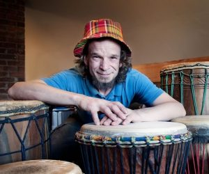 Drum-maker Jamie Andrews invites customers to try out various drums at his workshop because it's important the character of the drum suits the drummer. Photo by Rosemary Hasner / Black Dog Creative Arts.