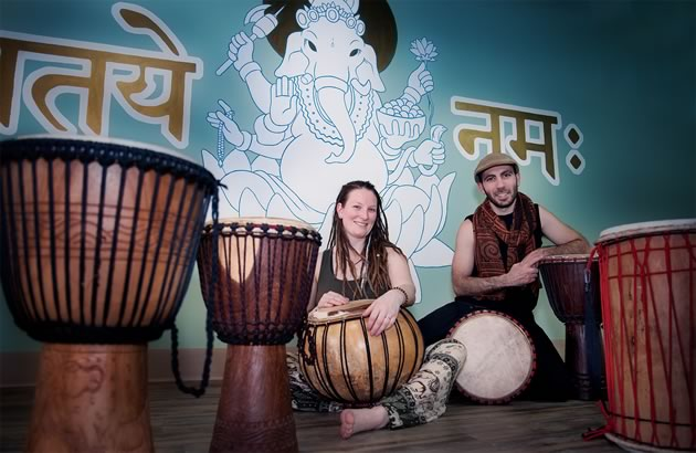 Laurin Wolf and Jason Maraschiello host regular drop-in drumming sessions at their Orangeville studio. Photo by Rosemary Hasner / Black Dog Creative Arts.