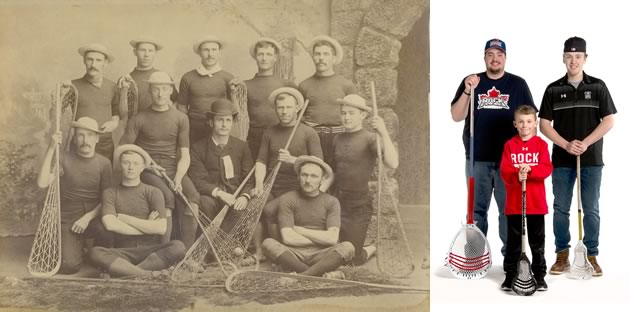 Dufferin Lacrosse Club, Orangeville, c.1885. Photo Courtesy Dufferin County Museum And Archives, P-0162. Orangeville Northmen Lacrosse: Nick Rose, Travis Brown and Bishop, 2017. Photo by Pete Paterson.