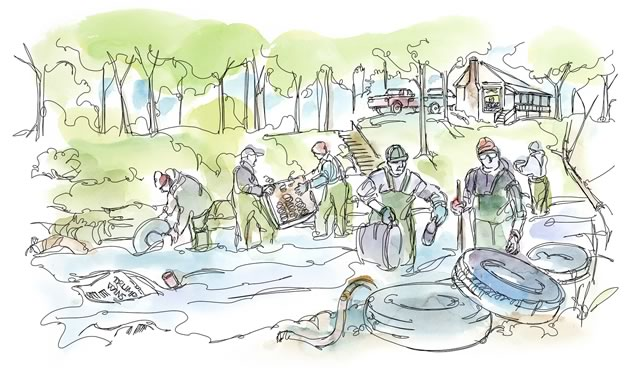 Real change happens when a group of like-minded people get together on a Saturday morning to pull old tires and bedsprings out of a river. Illustration by Shelagh Armstrong.