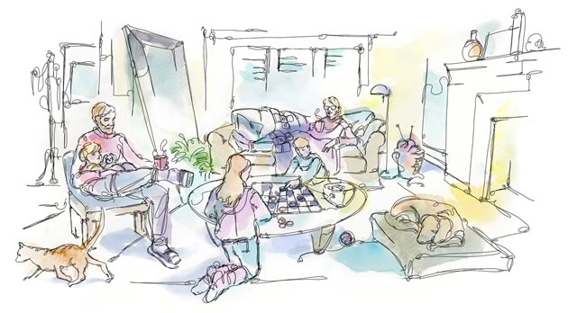 Hygge is the now very cool idea, or movement, of cozying down, at home, with family and friends. Illustration by Shelagh Armstrong.