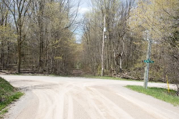 Elder is now a sleepy wooded intersection marked by a plaque. Photo by Pete Paterson.