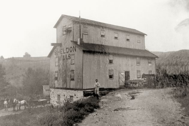 Sheldon's once thriving mill property is now a private estate. Dufferin County Museum & Archives P-068A.