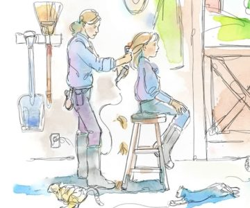 I would sit on top of the stool while my mom combed my hair straight with whatever horse comb or brush was nearby. Illustration by Shelagh Armstrong.