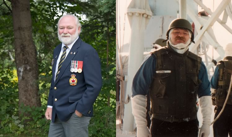 Left: As petty officer, first class, in communications, Garry Netzke served during the Gulf War of 1990 to 1991 on HMCS Terra Nova, a destroyer.Photo by Pete Paterson. Right: Garry Netzke, wearing anti-flash gear, aboard the Terra Nova in the Strait of Hormuz.
