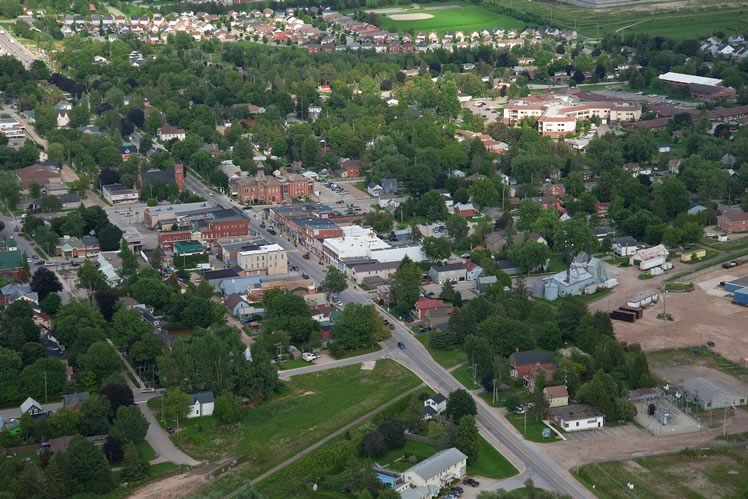 An aerial view of downtown Shelburne. Between 2011 and 2016, the town's population grew by 39.1 per cent, to 8,126 from 5,841. Currently about 8,500 people call the town home. Photo by Rosemary Hasner / Black Dog Creative Arts.