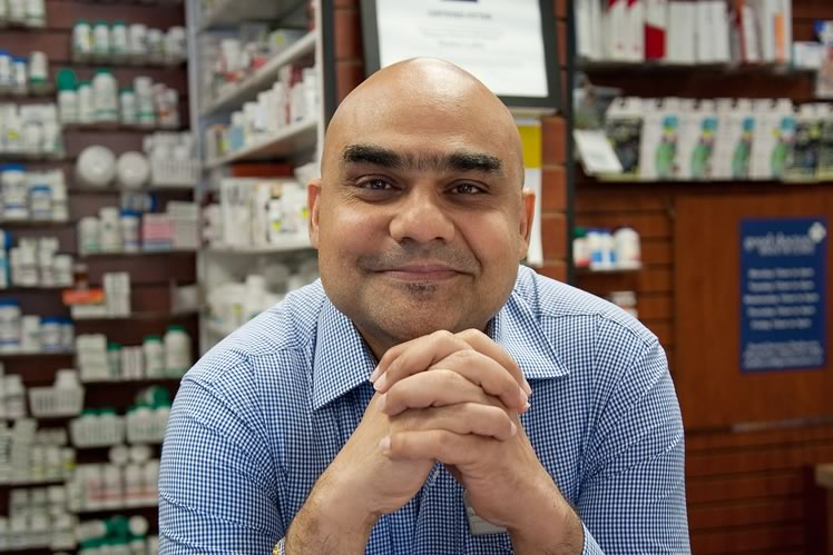 "Sanjay Lekhi, the pharmacist. ""Because I had already worked in Shelburne, I knew this was where I wanted to be. The people are really nice and friendly, and they already know I have the skills and expertise."" Photo by Rosemary Hasner / Black Dog Creative Arts."