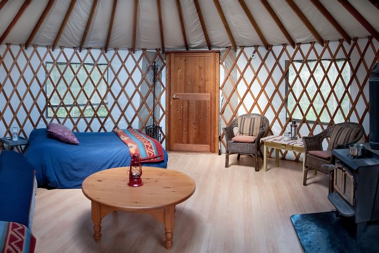 Try out life in a simple yurt near this getaway in Mono and take an on-site yoga class if the mood strikes. Photo by Rosemary Hasner / Black Dog Creative Arts.
