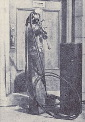 The acetylene torch used by the safecrackers. Courtesy of Toronto Public Library and The Globe And Mail.