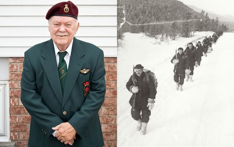 Left: Ten years ago Unit 23 of the Korea War Veterans Association – a unit Donald founded – spearheaded the building of the Wall of Remembrance. Photo by Pete Paterson. Right: Corporal Donald Carrick leads his section on a 1957 Arctic training exercise in Alberta.