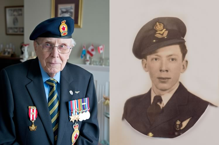 Left: Jack flew 33 missions, dangerous bombing runs that took off from England heading for targets in France and Germany. Photo by Pete Paterson. Right: Flying Officer Jack Mason on his arrival home from World War II.