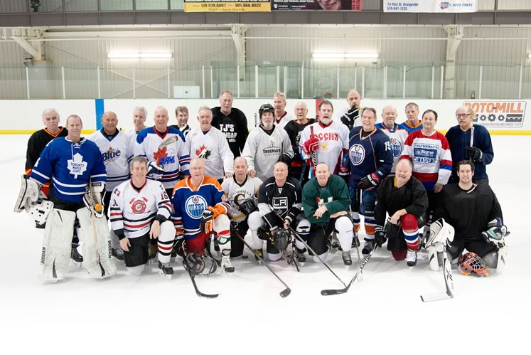 Team Spirit Standing, L to R : Gerry Cavanagh, Sean Smythe (goalie), Ken Vienneau, Gary Butler, Phil Partridge, Jeff Robertson, Ian Fairley, Graham Legge, Don Johnson, Gord Busato, Ed Varkel, Tony Jenkins, Peter Glass, Mark Bates, Tom Dexter, Brent Mclean, Joe Hines, Glenn Albecker. Kneeling, L to R : Rob Leslie, Joe Wilson, Gino Guatto, Dave Dyce, Don Shaw, Al Luikec, Michael Shaw (goalie). Photo by Pete Paterson.