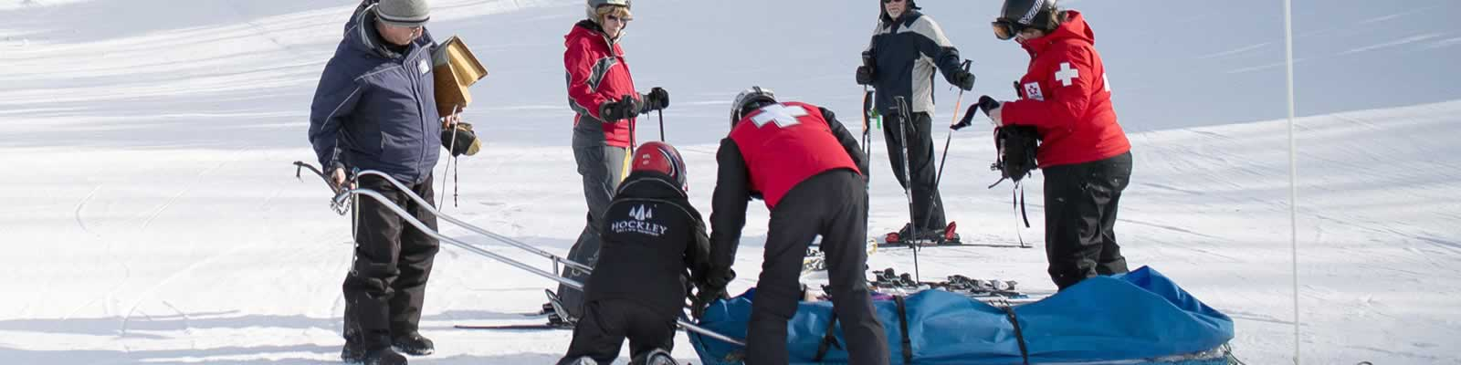 The patrollers put their experience into action when a young skier was injured during a school outing. Photo by James MacDonald.