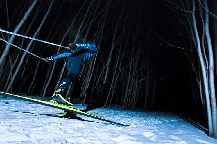 Lit trails at Monora Park add magic to a cross-country outing. Photo by Plbernier / Istockphoto.