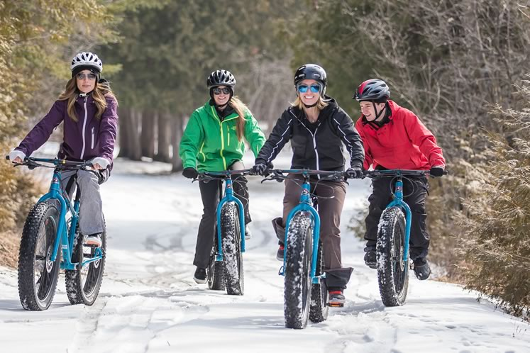 Try out winter's latest fix– fat biking at Albion Hills Conservation Area. Photo courtesy Central Counties Tourism.