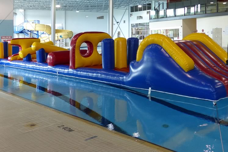 Orangeville's Alder Street Recreation Centre features a zany inflated obstacle course on Sundays. Photo courtesy Town of Orangeville.
