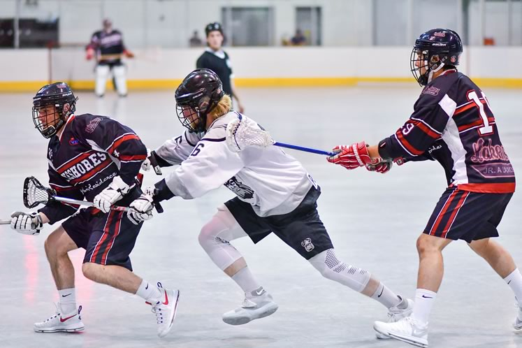 Defensive specialist Zac Masson was named First Team All-Star and Best Defensive Player in the Ontario Jr. A League last year and was drafted professionally by the Toronto Rock of the National Lacrosse League. Photo by James MacDonald.