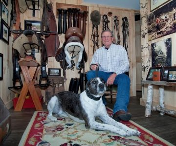 Stan Shapiro and Blue amid the memorabilia of a lifetime spent in the company of horses. Photo by Rosemary Hasner / Black Dog Creative Arts.