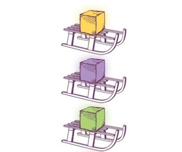 plastic cubes containing battery-powered LED lights