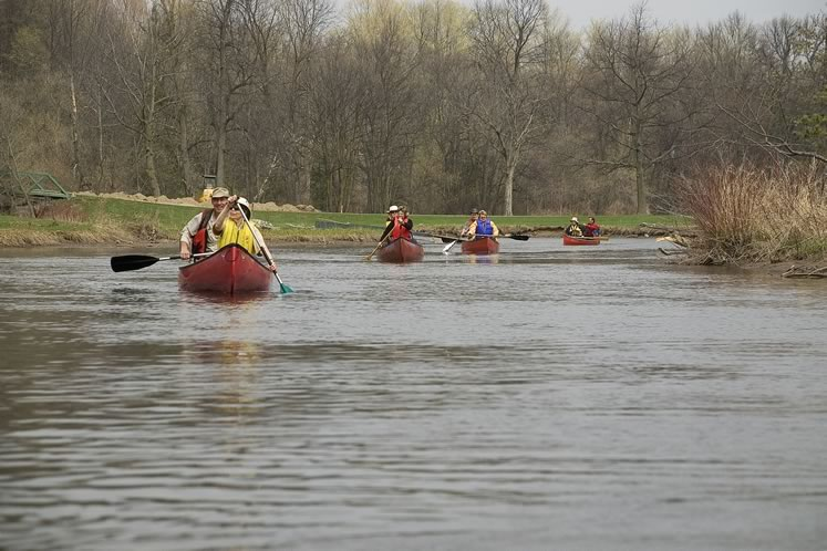 Spring on the Credit River attracts flotillas of canoes. Photo by Tom Partlett.