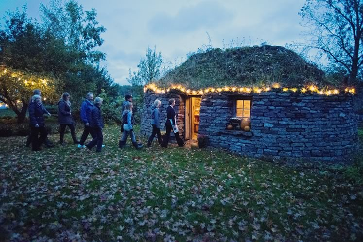 Guests arrive for dinner in The Blackhouse at Landman Gardens & Bakery near Grand Valley. Photo by Pete Paterson.