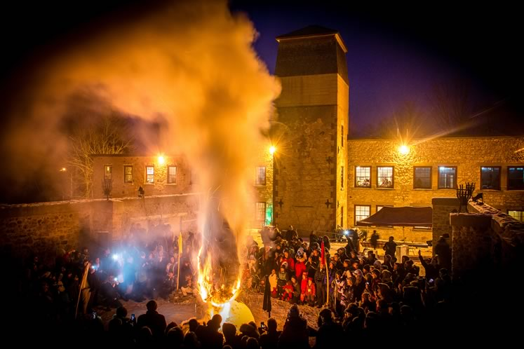 The annual Fire & Ice Festival culminates with a giant bonfire at Alton Mill Arts Centre. Courtesy Alton Mill.