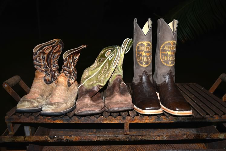 Filipe went through more than seven pairs of boots (and over 300 horseshoes) on his journey, starting with the ones on the left, which he donated to the Bata Shoe Museum after his ride. He wore the green boots through the southern U.S. and the third pair were a gift presented when he arrived in Barretos. Photo by Barbara Nettleton.