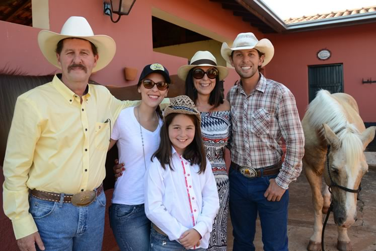 Filipe's family greeted him in Barretos: (left to right) his dad Luis, sisters Paolla and Izabella, mom Claudia, Filipe and Dude. Photo by Barbara Nettleton.