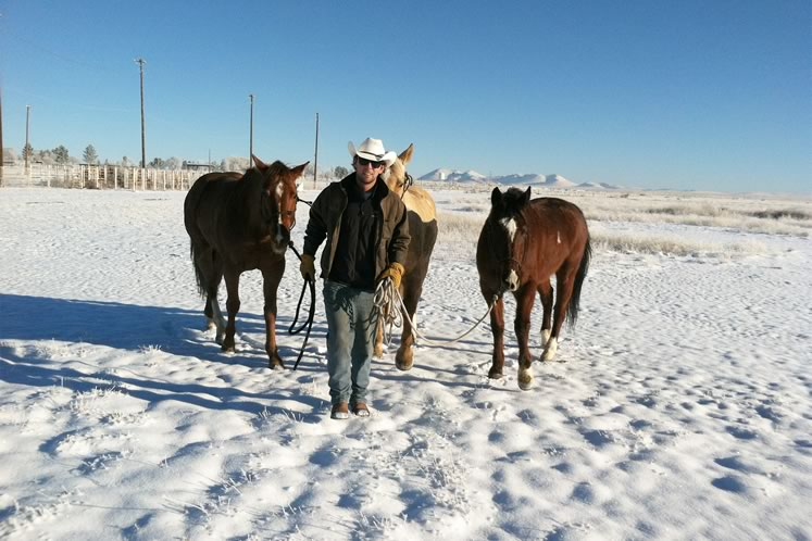 Snow caught up with Filipe and his horses in Marfa, Texas. There would be more ahead. Courtesy Filipe Leite.