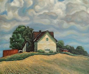 "The Farmhouse #2 (Hwy 6) 14"" x 14"" Oil on canvas ~ by Tibor Szakaczki"