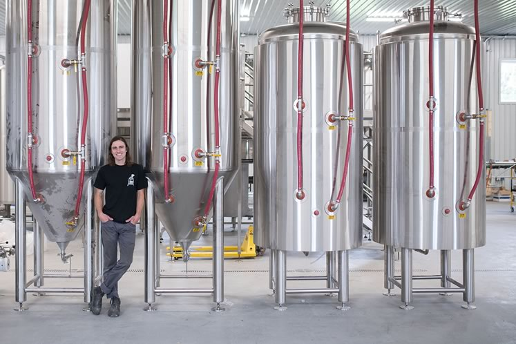 Calum Hill and his new stainless steel Sonnen Hill brewhouse. Photo by James MacDonald.