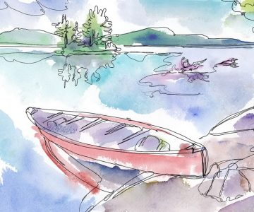 Summer canoe trip. Illustration by Shelagh Armstrong.