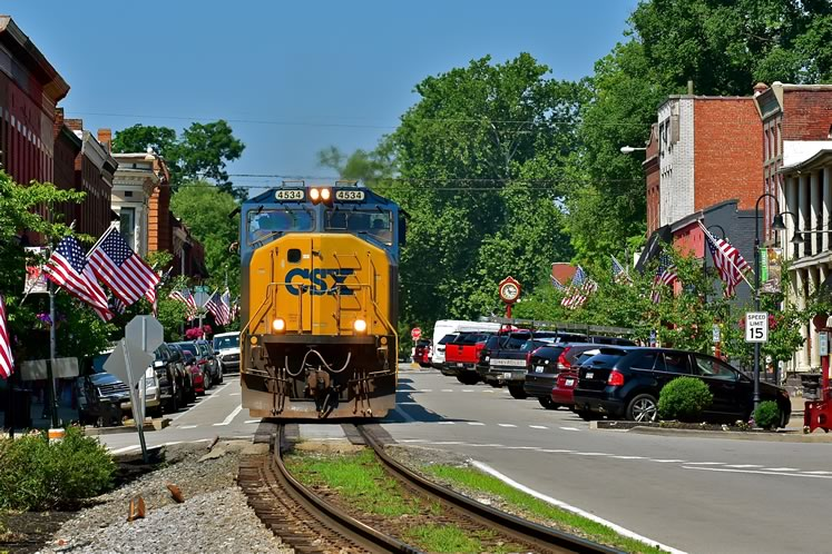 La Grange, KY – where the trains run right down the main street of town. Photo by Brandon Muir.