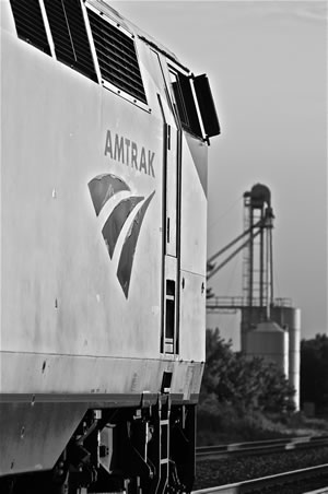 La Platta, MO – watching the transcontinental US mainline; 75 to 85 freight trains a day moving merchandise between California, Chicago and all points between. Photo by Brandon Muir.