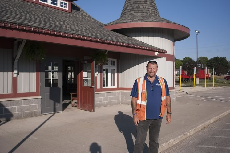 Paul Robinson, operations manager at Gio Railways, stands outside the Orangeville train station in July. Photo by Warren Schlote.