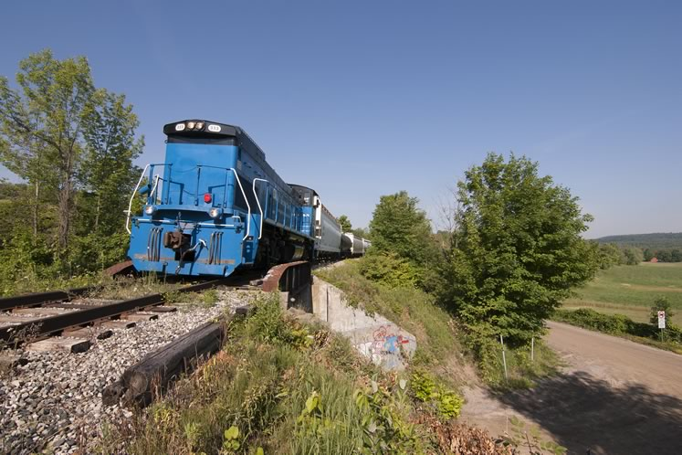 The bright blue Gio Railways locomotive hauls freight cars in late July through the hills of Caledon. Photo by Warren Schlote.