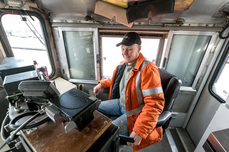 Steve Bradley sits in the locomotive cab at the Streetsville Junction before shutting down power on his last trip on the OBRY. Photo by Warren Schlote.