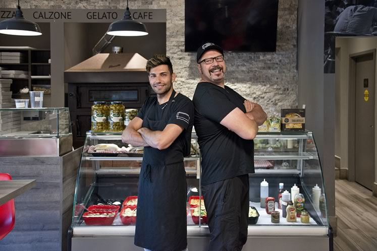 Pastry chef Graziano Fazzolari (left) and chef Filippo Rancati each put their own spin on pizza. Filippo handles the savoury and Graziano brings the sweet, such as the Nutella and strawberry dessert pizza. Photo by Pete Paterson.